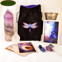 Blue Rose Dragonfly - All Natural Cotton Velvet and Silk Tarot, Oracle, or Crystal bag - Aeon Moon