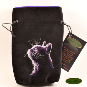 The Cat - All Natural Cotton Velvet and Silk Tarot, Oracle, or Crystal bag - Aeon Moon