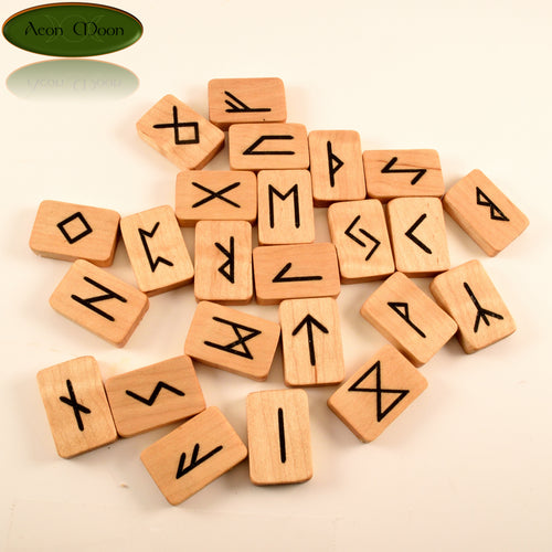 Maple Norse Runes with Jet inlay (MJTN1) - Aeon Moon