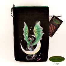 Moon Dragon -  Tarot Bag, Oracle Cards, or Crystal Bag , All Natural Cotton  (Deluxe Large) and Hand Woven Silk - Aeon Moon