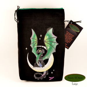Moon Dragon -  Tarot Bag, Oracle Cards, or Crystal Bag , All Natural Cotton  (Deluxe Large) and Hand Woven Silk