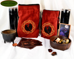 Odin's Ravens - All Natural Cotton Velvet and Silk Tarot, Oracle, or Crystal bag