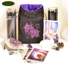 Poppies and crystals - All Natural Cotton Velvet and Silk Tarot, Oracle, or Crystal bag - Aeon Moon