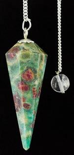 6-Sided Ruby Zoisite pendulum - Aeon Moon