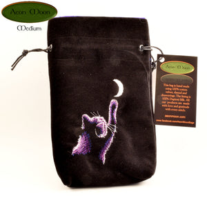 Reaching for the Moon - All Natural Cotton Velvet and Silk Tarot, Oracle, or Crystal bag