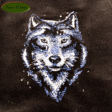 Spectacular Wolf  -  Tarot Bag, Oracle Cards, or Crystal Bag , All Natural Cotton  and Hand Woven Silk Divination Pouch