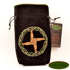 Brigid's Cross - All Natural Cotton Velvet and Silk Tarot, Oracle, or Crystal bag - Aeon Moon