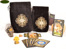 Clockwork Compass - All Natural Cotton Velvet and Silk Tarot, Oracle, or Crystal bag