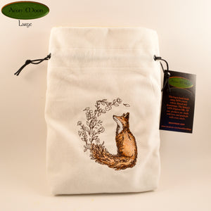 Flower-Tailed Fox - All Natural Cotton Velvet and Silk Tarot, Oracle, or Crystal bag - Aeon Moon