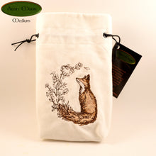 Flower-Tailed Fox - All Natural Cotton Velvet and Silk Tarot, Oracle, or Crystal bag