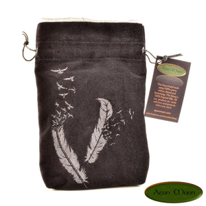 Feathers - All Natural Cotton Velvet and Silk Tarot, Oracle, or Crystal bag - Aeon Moon