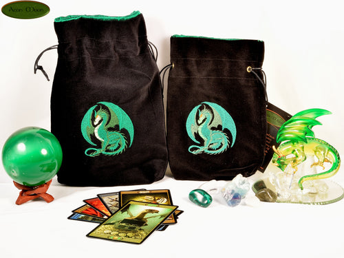 Green Dragon - All Natural Cotton Velvet and Silk Tarot, Oracle, or Crystal bag