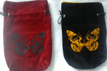 CLEARANCE** Skull Butterflies - All Natural Cotton Velvet and Silk Tarot, Oracle, or Crystal bag - Aeon Moon