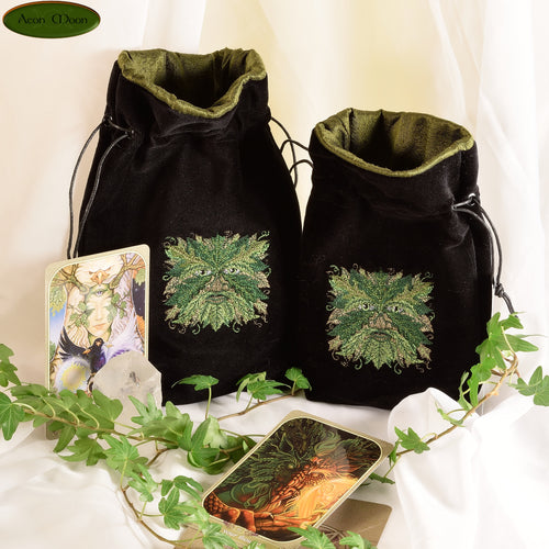 Green Man - All Natural Cotton Velvet and Silk Tarot, Oracle, or Crystal bag