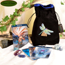 Dragonfly - All Natural Cotton Velvet and Silk Tarot, Oracle, or Crystal bag - Aeon Moon