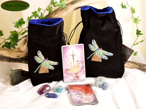 Dragonfly - All Natural Cotton Velvet and Silk Tarot, Oracle, or Crystal bag