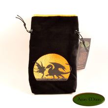 Dragon and Fae - All Natural Cotton Velvet and Silk Tarot, Oracle, or Crystal bag - Aeon Moon