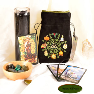 Wheel of the Year - All Natural Cotton Velvet and Silk Tarot, Oracle, or Crystal bag - Aeon Moon