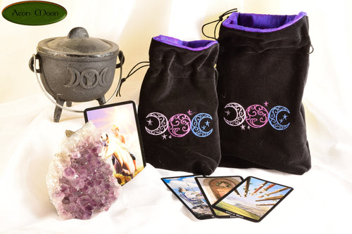 Triple Moons- All Natural Cotton Velvet and Silk Tarot, Oracle, or Crystal bag