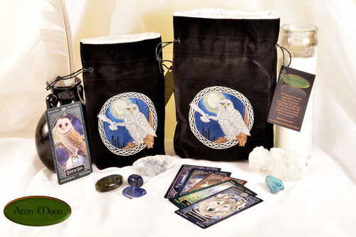 Snowy Owls - All Natural Cotton Velvet and Silk Tarot, Oracle, or Crystal bag