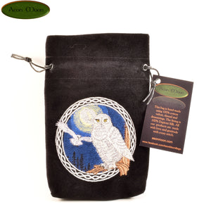 Snowy Owls - All Natural Cotton Velvet and Silk Tarot, Oracle, or Crystal bag - Aeon Moon