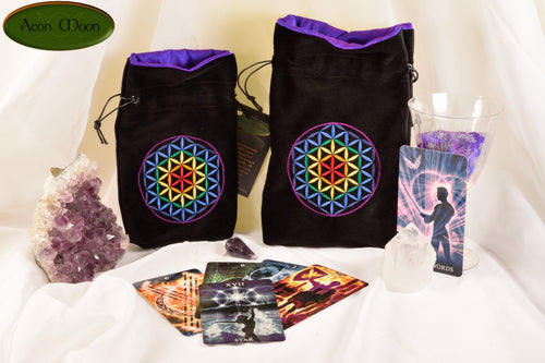 Flower of Life - All Natural Cotton Velvet and SIlk Tarot, Oracle, or Crystal bag
