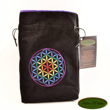Flower of Life - All Natural Cotton Velvet and SIlk Tarot, Oracle, or Crystal bag - Aeon Moon