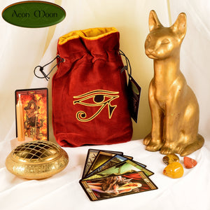 Eye of Ra - All Natural Cotton Velvet and Silk Tarot, Oracle, or Crystal bag - Aeon Moon
