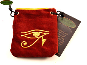 Eye of Ra - Small All Natural Cotton Velvet and Silk Pendulum or Crystal bag - Aeon Moon
