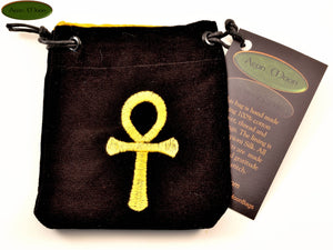 Ankh - Small All Natural Cotton Velvet and Silk Pendulum or Crystal bag - Aeon Moon