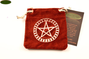 Pentacle with Moon Phases - Small All Natural Cotton Velvet and Silk Pendulum or Crystal bag - Aeon Moon