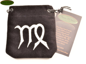 Virgo - Small All Natural Cotton Velvet and Silk Pendulum or Crystal bag - Aeon Moon