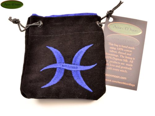 Pisces - Small All Natural Cotton Velvet and Silk Pendulum or Crystal bag - Aeon Moon