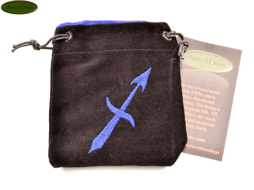 Sagittarius - Small All Natural Cotton Velvet and Silk Pendulum or Crystal bag - Aeon Moon