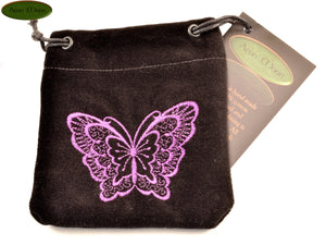 Butterfly - Small All Natural Cotton Velvet and Silk Pendulum or Crystal bag - Aeon Moon