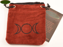 Triple Moons - Small All Natural Cotton Velvet and Silk Pendulum or Crystal bag - Aeon Moon