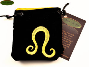 Leo - Small All Natural Cotton Velvet and Silk Pendulum or Crystal bag - Aeon Moon