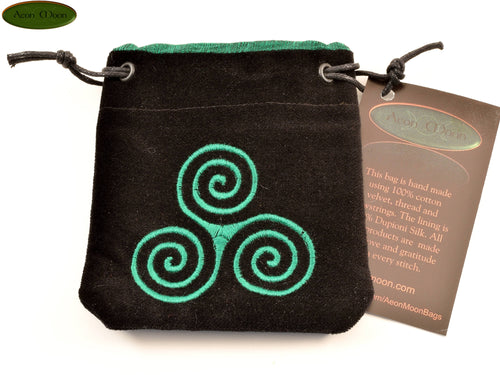 Triskele - Small All Natural Cotton Velvet and Silk Pendulum or Crystal bag - Aeon Moon