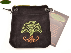 World Tree - Small All Natural Cotton Velvet and Silk Pendulum or Crystal bag - Aeon Moon