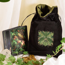Green Man - All Natural Cotton Velvet and Silk Tarot, Oracle, or Crystal bag - Aeon Moon