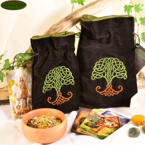 World Tree - All Natural Cotton Velvet and Silk Tarot, Oracle, or Crystal bag