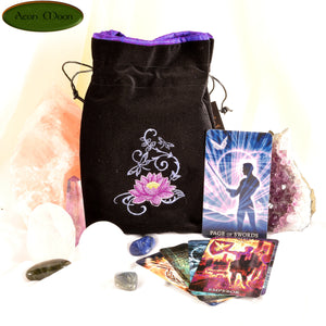 Lotus- All Natural Cotton Velvet and Silk Tarot, Oracle, or Crystal bag - Aeon Moon