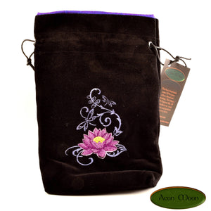 Lotus- All Natural Cotton Velvet and Silk Tarot, Oracle, or Crystal bag