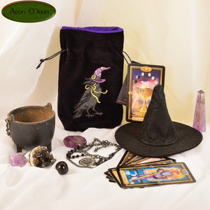 Witchy Raven - All Natural Cotton Velvet and Silk Tarot, Oracle, or Crystal bag - Aeon Moon