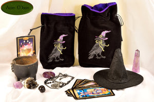 Witchy Raven - All Natural Cotton Velvet and Silk Tarot, Oracle, or Crystal bag