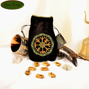 Vegvisir - All Natural Cotton Velvet and Silk Tarot, Oracle, or Crystal bag - Aeon Moon