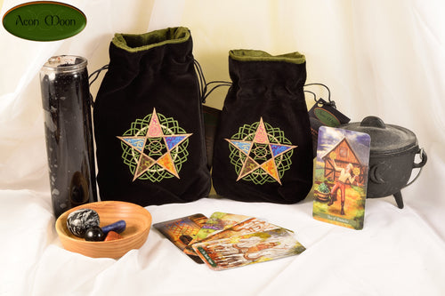 The Five Elements - All Natural Cotton Velvet and Silk Tarot, Oracle, or Crystal bag