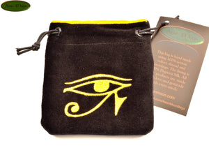 Eye of Ra - Small All Natural Cotton Velvet and Silk Pendulum or Crystal bag