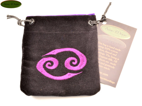 Cancer - Small All Natural Cotton Velvet and Silk Pendulum or Crystal bag - Aeon Moon