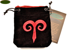 Aries - Small All Natural Cotton Velvet and Silk Pendulum or Crystal bag - Aeon Moon
